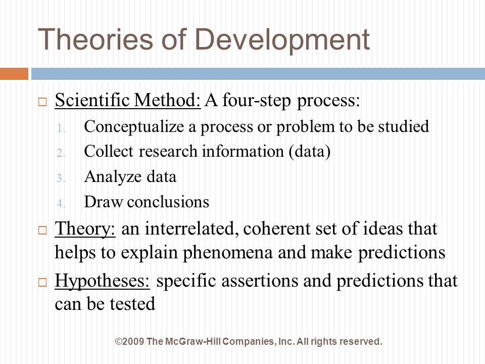 Theories of Development ©2009 The McGraw-Hill Companies, Inc. All rights reserved.  Scientific Method: A four-step process: 1. Conceptualize a proces