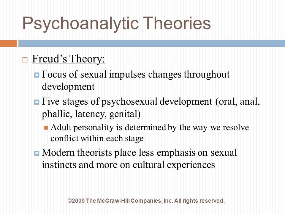 Psychoanalytic Theories ©2009 The McGraw-Hill Companies, Inc. All rights reserved.  Freud's Theory:  Focus of sexual impulses changes throughout dev