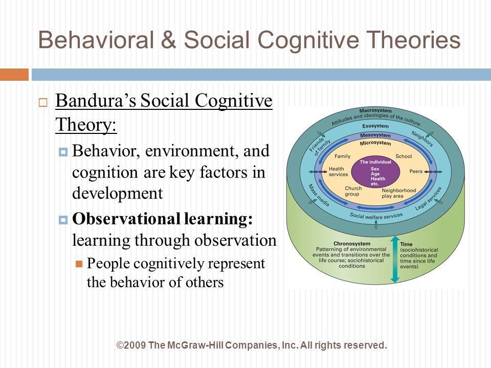 Behavioral & Social Cognitive Theories  Bandura's Social Cognitive Theory:  Behavior, environment, and cognition are key factors in development  Ob