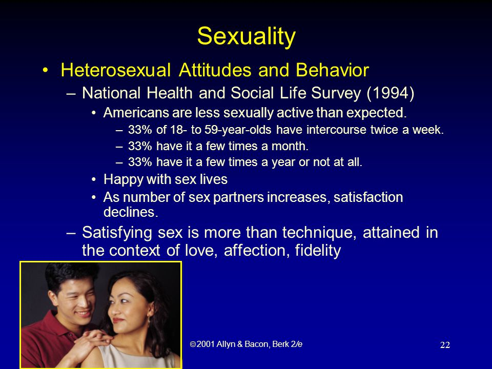  2001 Allyn & Bacon, Berk 2/e 22 Sexuality Heterosexual Attitudes and Behavior –National Health and Social Life Survey (1994) Americans are less sexually active than expected.