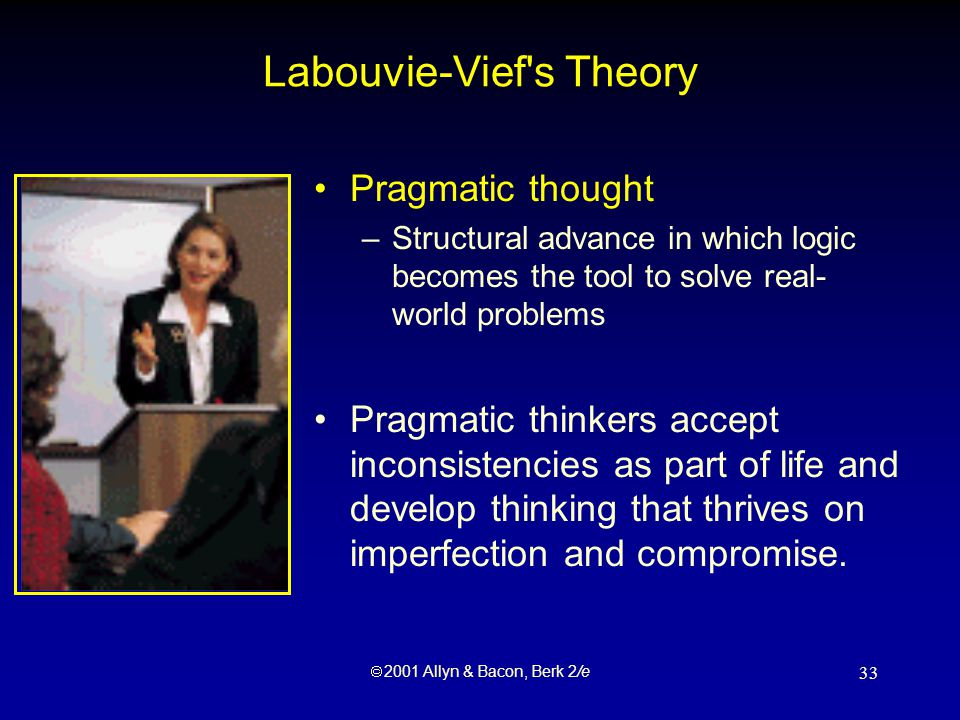  2001 Allyn & Bacon, Berk 2/e 33 Labouvie-Vief s Theory Pragmatic thought –Structural advance in which logic becomes the tool to solve real- world problems Pragmatic thinkers accept inconsistencies as part of life and develop thinking that thrives on imperfection and compromise.