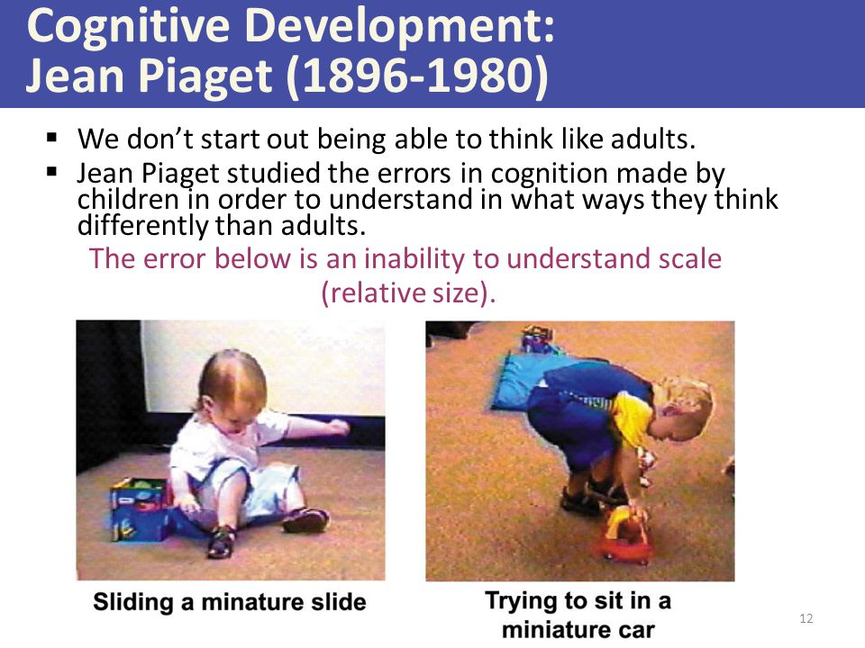 Cognitive Development: Jean Piaget (1896-1980)  We don't start out being able to think like adults.  Jean Piaget studied the errors in cognition mad