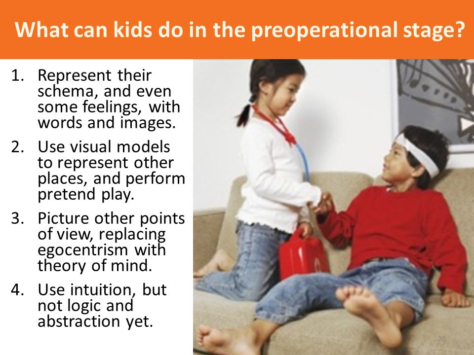 What can kids do in the preoperational stage? 1.Represent their schema, and even some feelings, with words and images. 2.Use visual models to represen