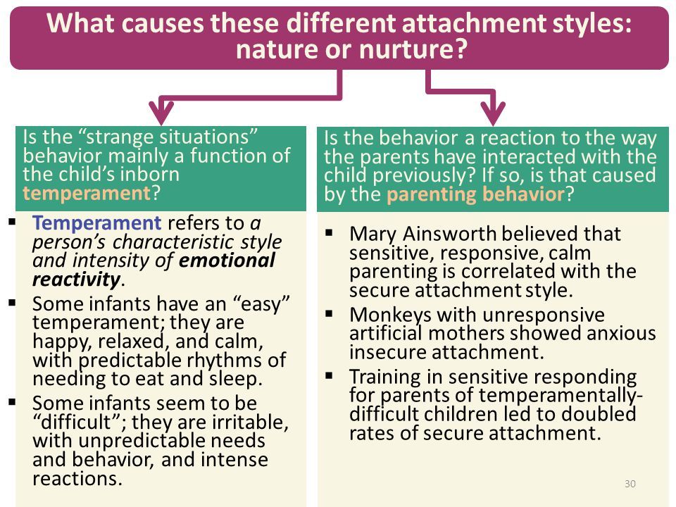 What causes these different attachment styles: nature or nurture? Is the behavior a reaction to the way the parents have interacted with the child pre