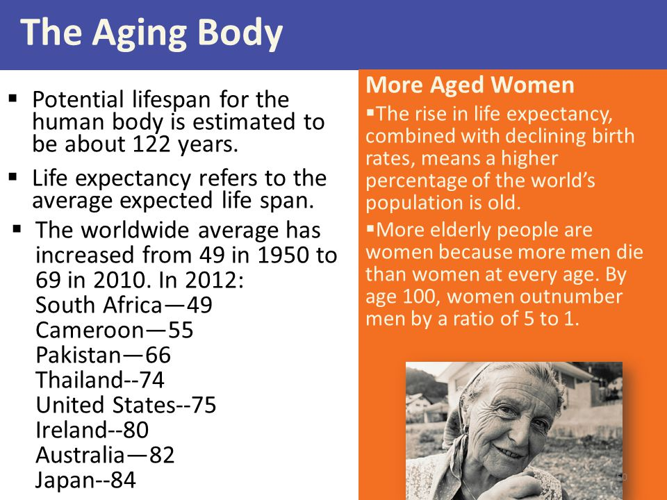The Aging Body  Potential lifespan for the human body is estimated to be about 122 years.  Life expectancy refers to the average expected life span.