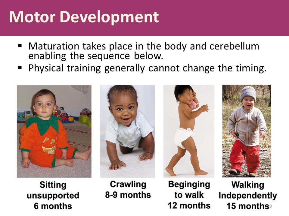 Motor Development  Maturation takes place in the body and cerebellum enabling the sequence below.  Physical training generally cannot change the tim