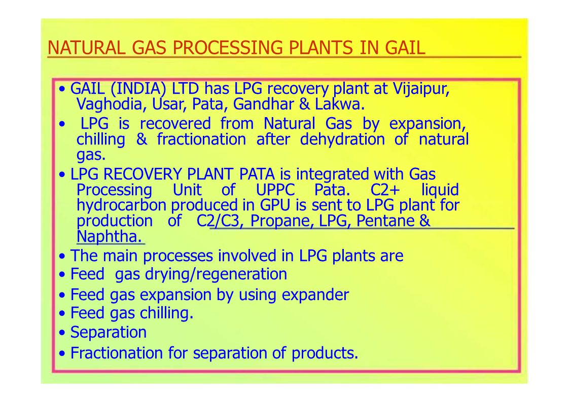 NATURAL GAS PROCESSING PLANTS IN GAIL GAIL (INDIA) LTD has LPG recovery plant at Vijaipur, Vaghodia, Usar, Pata, Gandhar & Lakwa.
