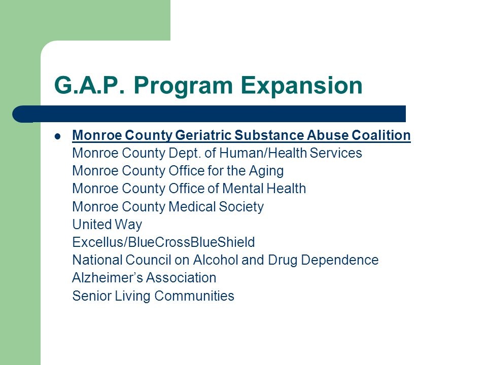 G.A.P.Program Expansion Monroe County Geriatric Substance Abuse Coalition Monroe County Dept.