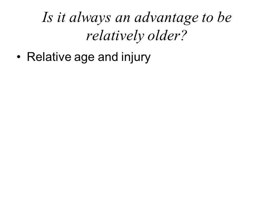 Is it always an advantage to be relatively older Relative age and injury
