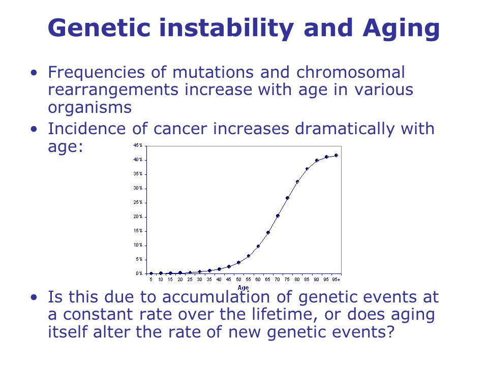 Genetic instability and Aging Frequencies of mutations and chromosomal rearrangements increase with age in various organisms Incidence of cancer increases dramatically with age: Is this due to accumulation of genetic events at a constant rate over the lifetime, or does aging itself alter the rate of new genetic events