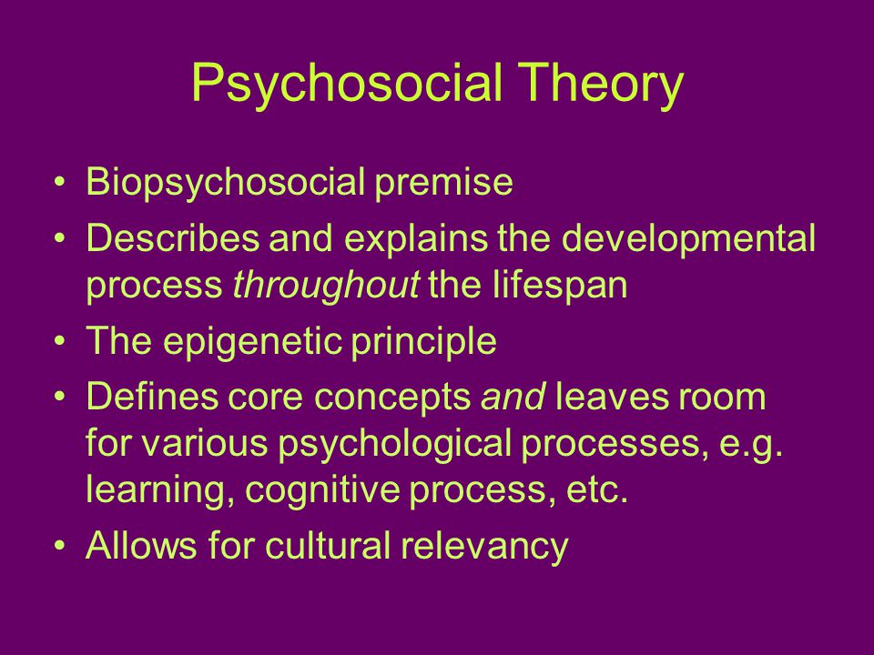 Psychosocial Theory Biopsychosocial premise Describes and explains the developmental process throughout the lifespan The epigenetic principle Defines core concepts and leaves room for various psychological processes, e.g.