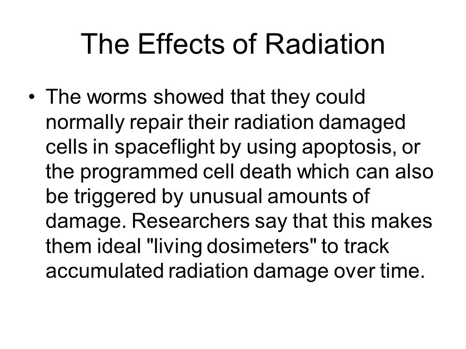 The Effects of Radiation The worms showed that they could normally repair their radiation damaged cells in spaceflight by using apoptosis, or the programmed cell death which can also be triggered by unusual amounts of damage.