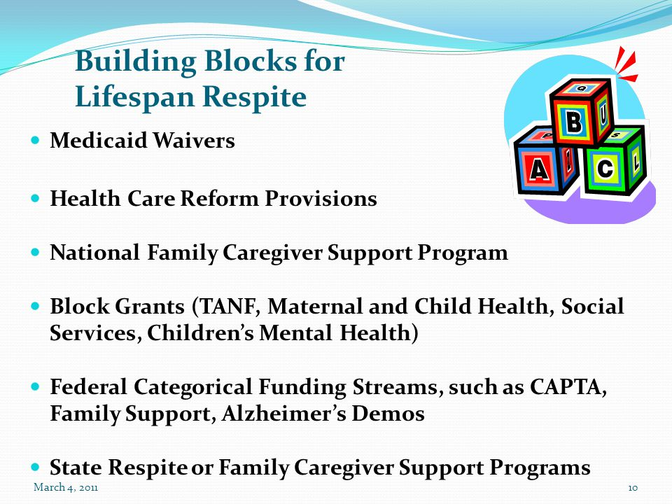 10 Medicaid Waivers Health Care Reform Provisions National Family Caregiver Support Program Block Grants (TANF, Maternal and Child Health, Social Serv