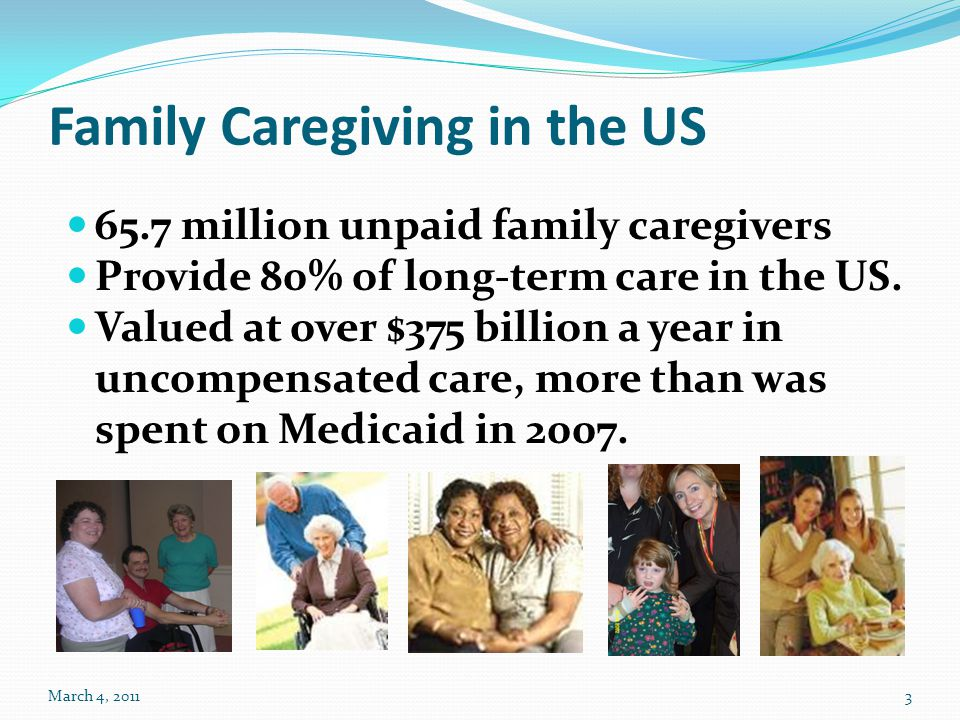 Family Caregiving in the US 65.7 million unpaid family caregivers Provide 80% of long-term care in the US. Valued at over $375 billion a year in uncom