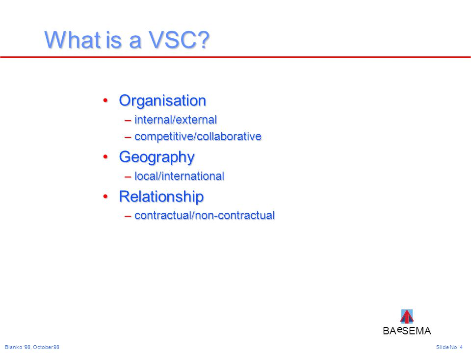BA SEMA e e Slide No: 4Blanko '98, October 98 What is a VSC.