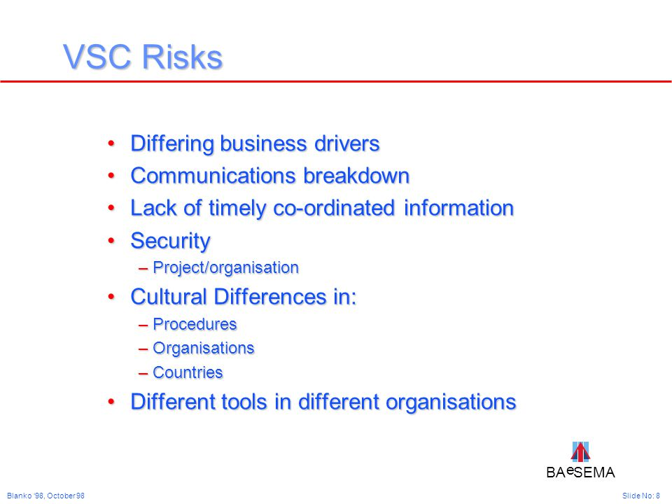 BA SEMA e e Slide No: 8Blanko '98, October 98 VSC Risks Differing business driversDiffering business drivers Communications breakdownCommunications breakdown Lack of timely co-ordinated informationLack of timely co-ordinated information SecuritySecurity –Project/organisation Cultural Differences in:Cultural Differences in: –Procedures –Organisations –Countries Different tools in different organisationsDifferent tools in different organisations