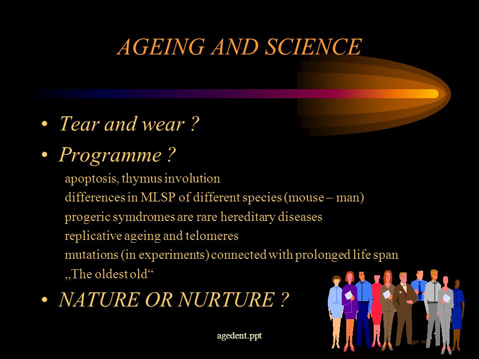 agedent.ppt17 AGEING AND SCIENCE Tear and wear . Programme .