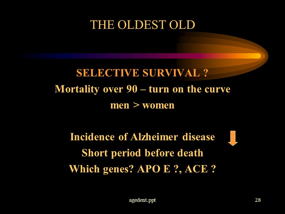agedent.ppt28 THE OLDEST OLD SELECTIVE SURVIVAL .