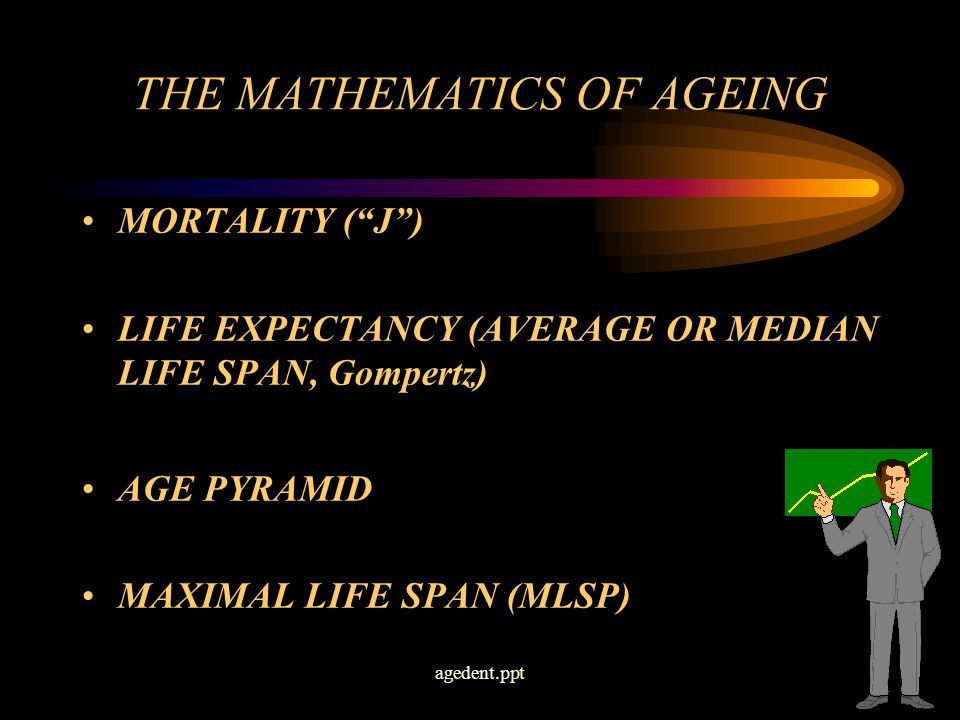 agedent.ppt7 THE MATHEMATICS OF AGEING MORTALITY ( J ) LIFE EXPECTANCY (AVERAGE OR MEDIAN LIFE SPAN, Gompertz) AGE PYRAMID MAXIMAL LIFE SPAN (MLSP)