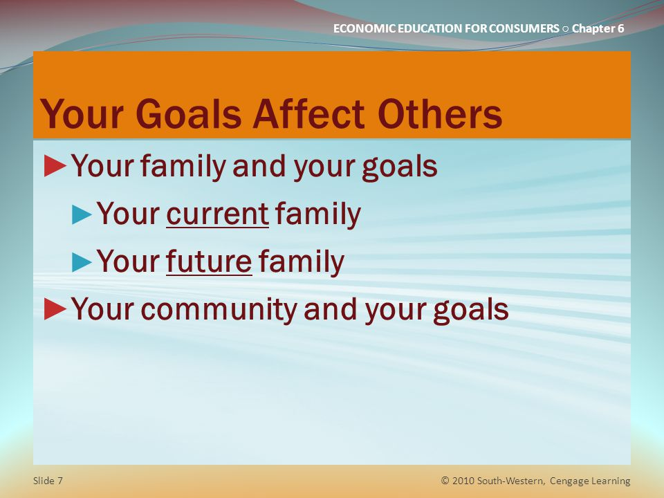 ECONOMIC EDUCATION FOR CONSUMERS ○ Chapter 6 Your Goals Affect Others ► Your family and your goals ► Your current family ► Your future family ► Your c