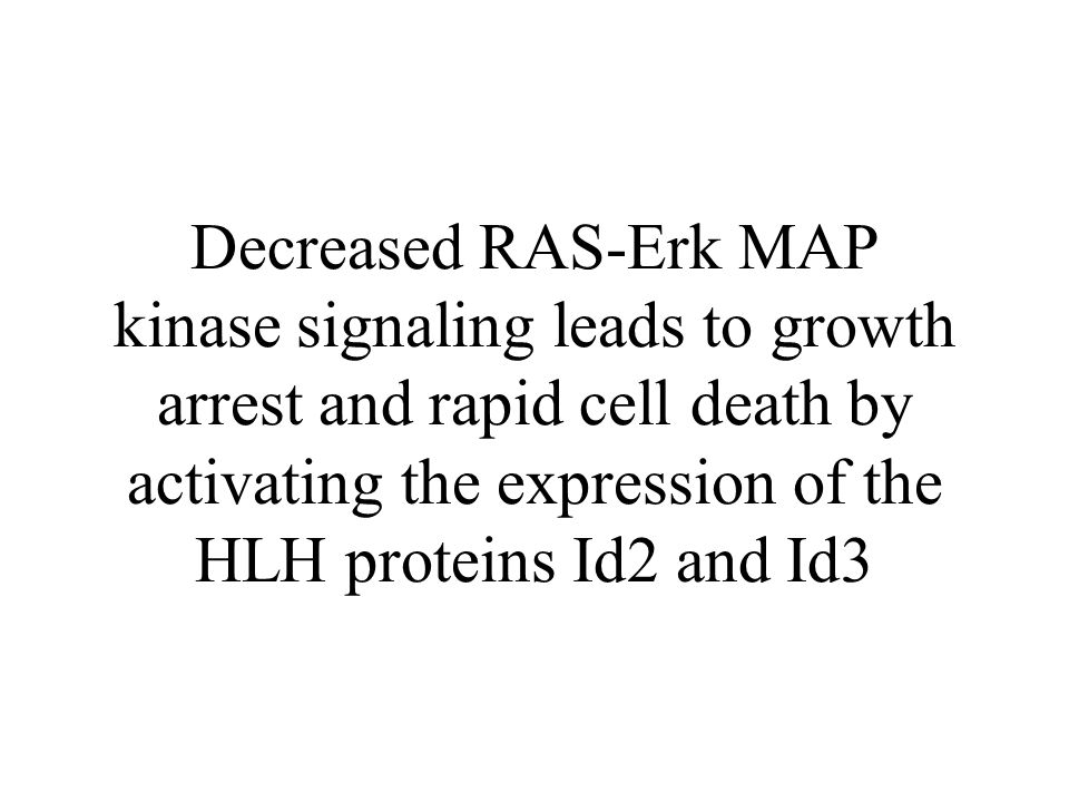 Decreased RAS-Erk MAP kinase signaling leads to growth arrest and rapid cell death by activating the expression of the HLH proteins Id2 and Id3