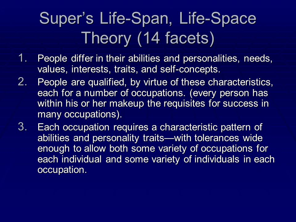 Super's Life-Span, Life-Space Theory (14 facets) 1.