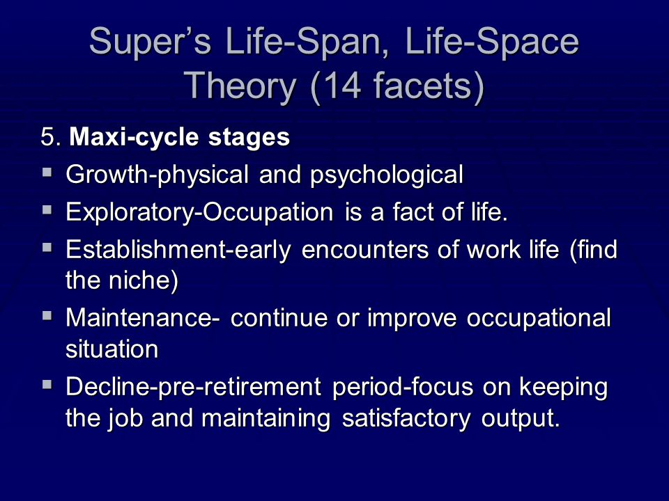 Super's Life-Span, Life-Space Theory (14 facets) 5.