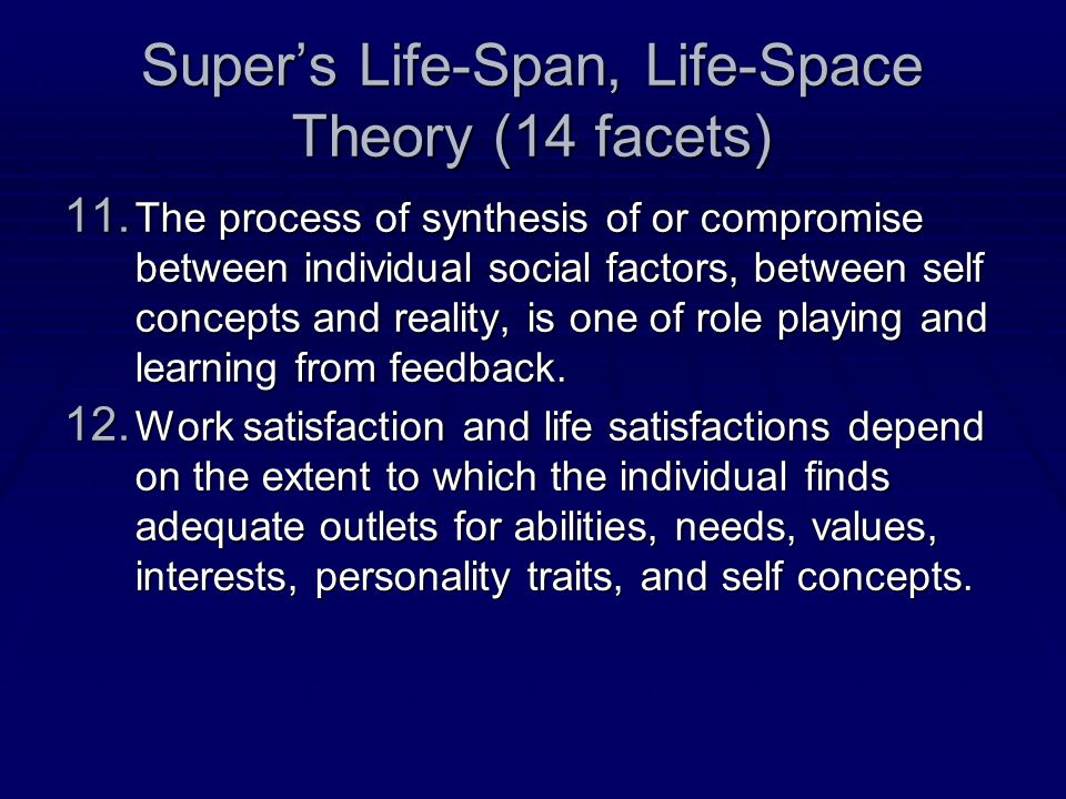 Super's Life-Span, Life-Space Theory (14 facets) 11.