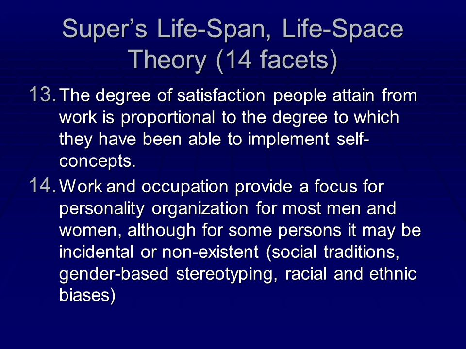 Super's Life-Span, Life-Space Theory (14 facets) 13.