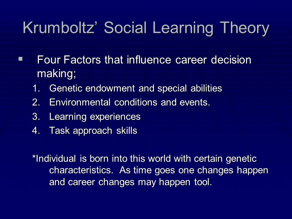 Krumboltz' Social Learning Theory  Four Factors that influence career decision making; 1.Genetic endowment and special abilities 2.Environmental conditions and events.