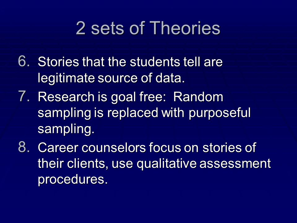 2 sets of Theories 6.Stories that the students tell are legitimate source of data.