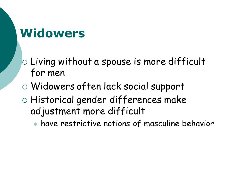  Living without a spouse is more difficult for men  Widowers often lack social support  Historical gender differences make adjustment more difficul