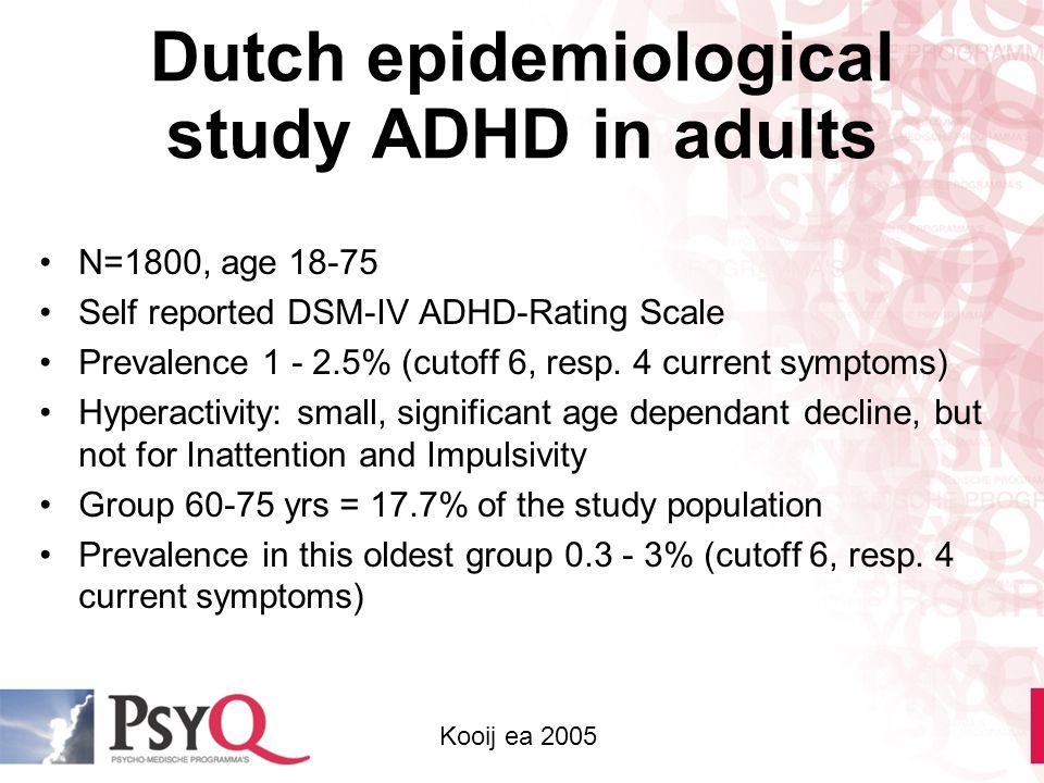 Dutch epidemiological study ADHD in adults N=1800, age 18-75 Self reported DSM-IV ADHD-Rating Scale Prevalence 1 - 2.5% (cutoff 6, resp. 4 current sym