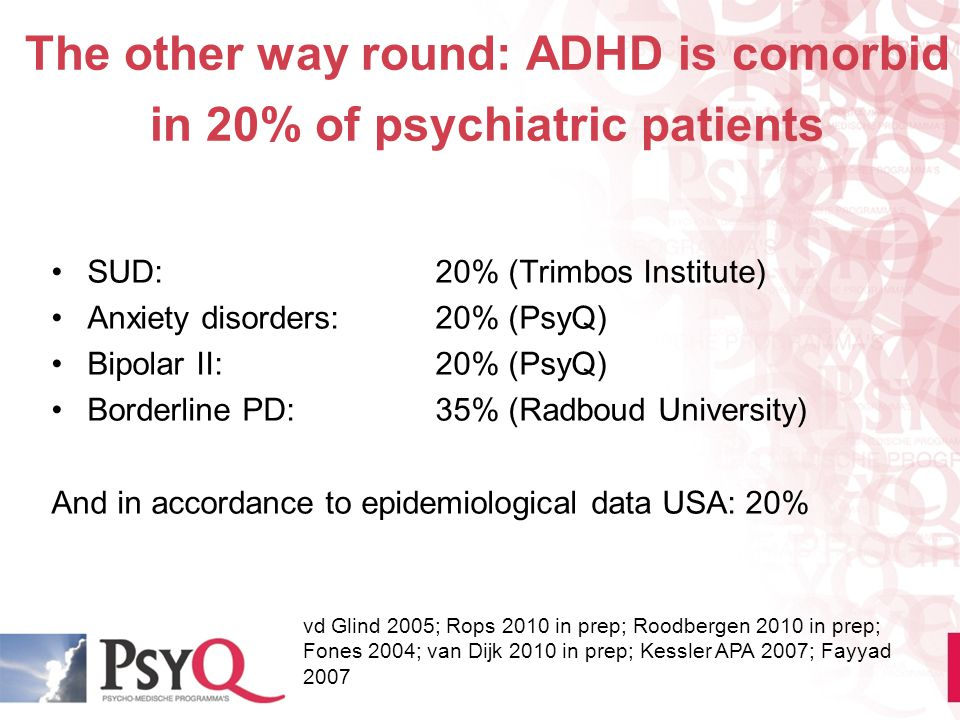 The other way round: ADHD is comorbid in 20% of psychiatric patients SUD:20% (Trimbos Institute) Anxiety disorders:20% (PsyQ) Bipolar II:20% (PsyQ) Bo