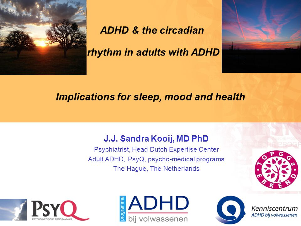 ADHD & the circadian rhythm in adults with ADHD Implications for sleep, mood and health J.J. Sandra Kooij, MD PhD Psychiatrist, Head Dutch Expertise C