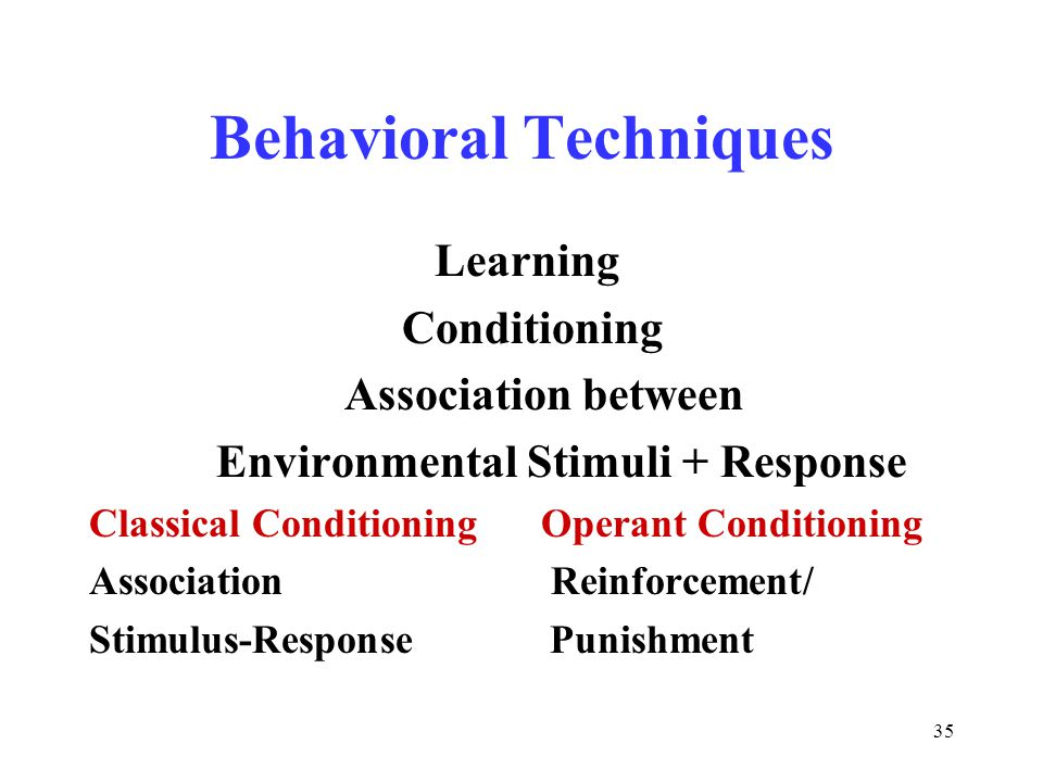 35 Behavioral Techniques Learning Conditioning Association between Environmental Stimuli + Response Classical Conditioning Operant Conditioning Association Reinforcement/ Stimulus-Response Punishment