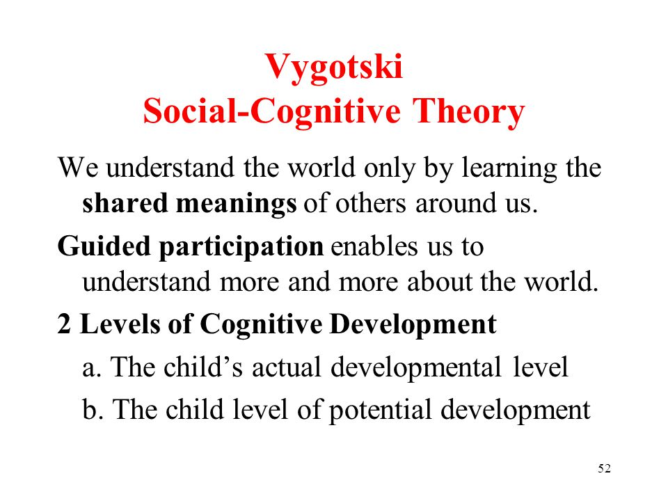52 Vygotski Social-Cognitive Theory We understand the world only by learning the shared meanings of others around us.