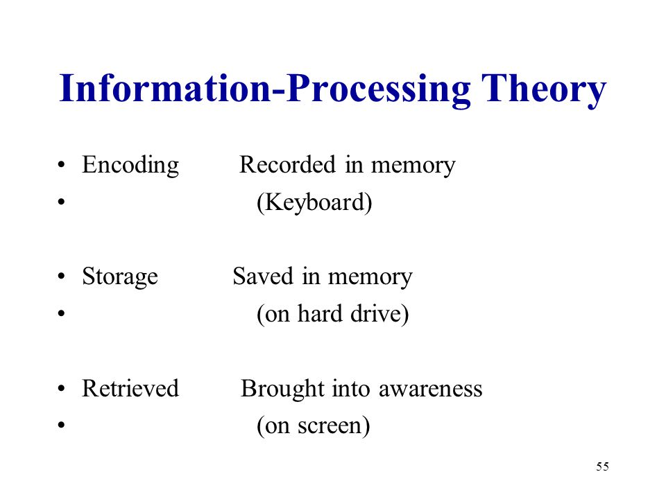 55 Information-Processing Theory Encoding Recorded in memory (Keyboard) Storage Saved in memory (on hard drive) Retrieved Brought into awareness (on screen)