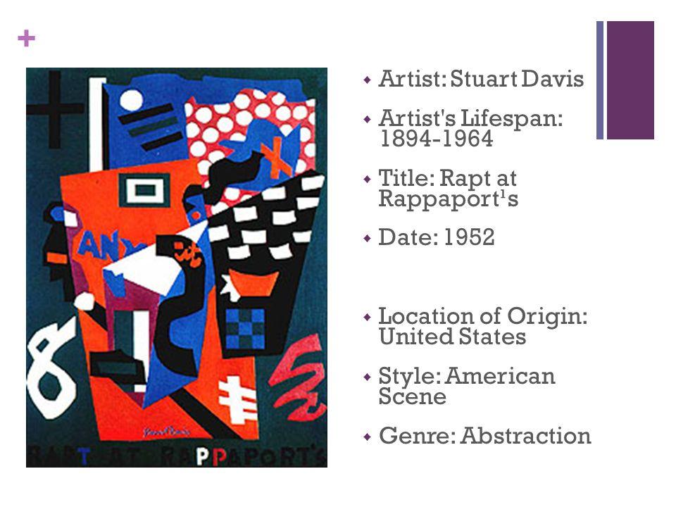 +  Artist: Stuart Davis  Artist s Lifespan: 1894-1964  Title: Rapt at Rappaport¹s  Date: 1952  Location of Origin: United States  Style: American Scene  Genre: Abstraction