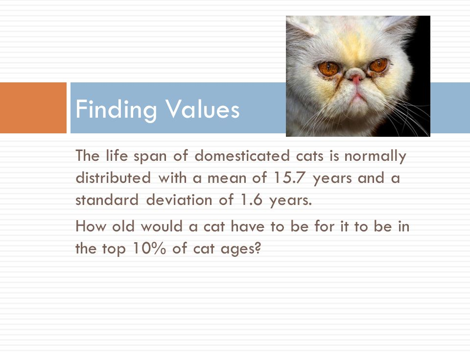 The life span of domesticated cats is normally distributed with a mean of 15.7 years and a standard deviation of 1.6 years.