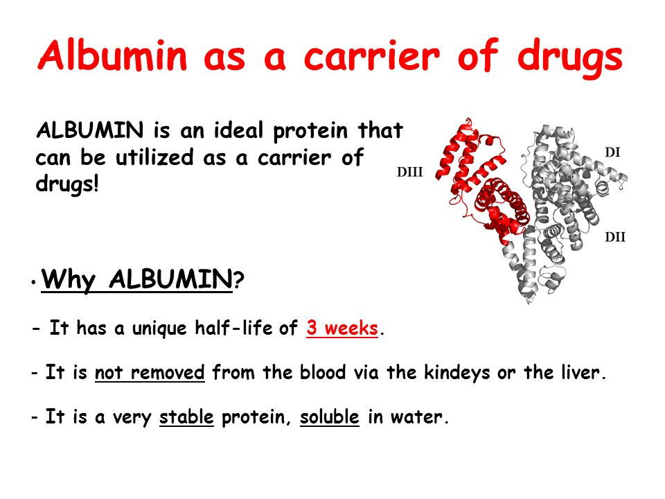 Albumin as a carrier of drugs Why ALBUMIN ? - It has a unique half-life of 3 weeks. - It is not removed from the blood via the kindeys or the liver. -