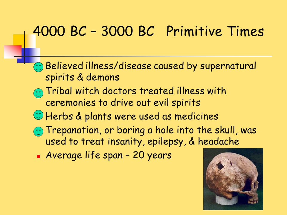 3000 BC – 300 BC Ancient Egyptians Earliest to maintain health records Physicians were priests Imhotep may have been the first physician Embalming led to increased understanding of anatomy & disease Gauze used to wrap bodies Antiseptics kept bodies from decaying Bloodletting or leeches were used Used magic & medicinal plants to treat disease Average life span was 20 – 30 years
