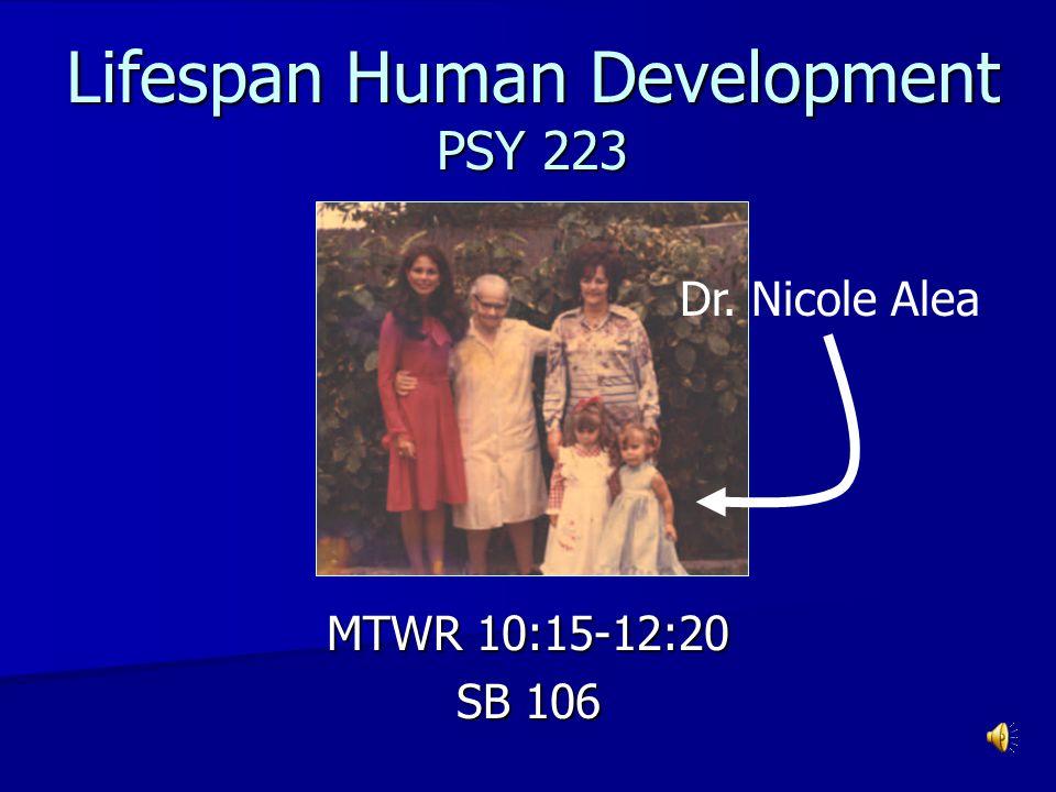 Lifespan Human Development PSY 223 MTWR 10:15-12:20 SB 106 Dr. Nicole Alea