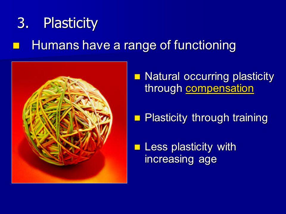 Natural occurring plasticity through compensation Natural occurring plasticity through compensation Plasticity through training Plasticity through tra