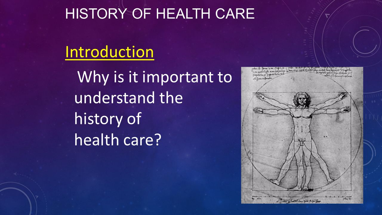HISTORY OF HEALTH CARE Introduction Why is it important to understand the history of health care?