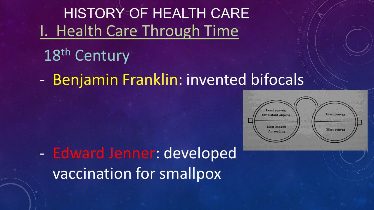 HISTORY OF HEALTH CARE I.