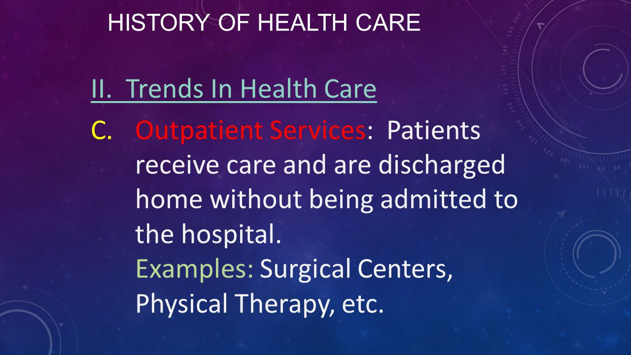 HISTORY OF HEALTH CARE II. Trends In Health Care C.Outpatient Services: Patients receive care and are discharged home without being admitted to the ho