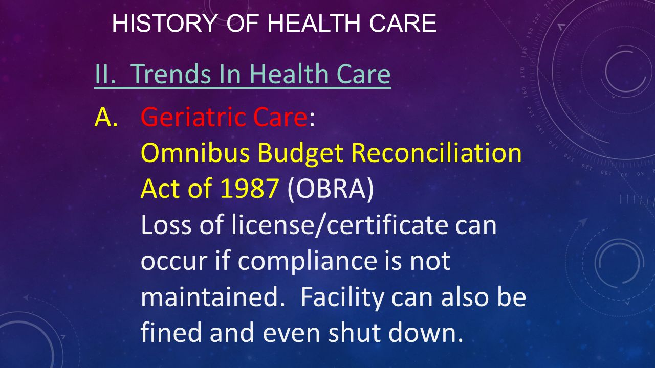HISTORY OF HEALTH CARE II. Trends In Health Care A.Geriatric Care: Omnibus Budget Reconciliation Act of 1987 (OBRA) Loss of license/certificate can oc
