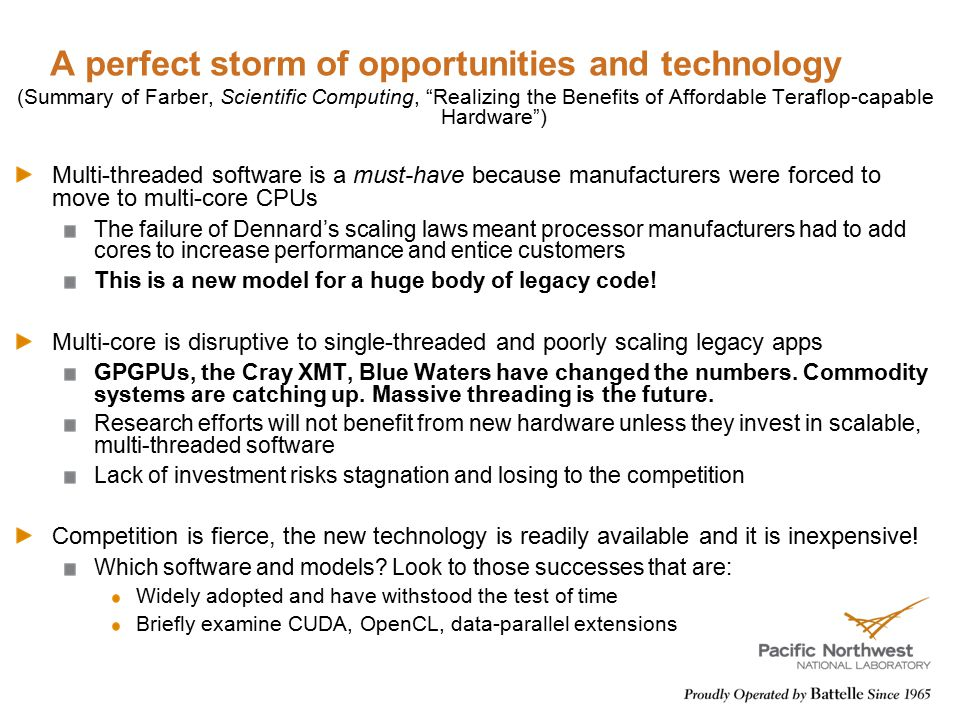 "A perfect storm of opportunities and technology (Summary of Farber, Scientific Computing, ""Realizing the Benefits of Affordable Teraflop-capable Hardw"