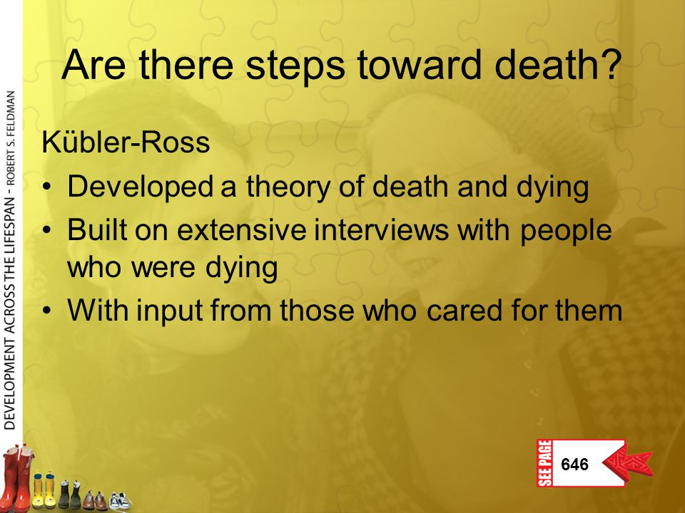 Are there steps toward death? Kübler-Ross Developed a theory of death and dying Built on extensive interviews with people who were dying With input fr